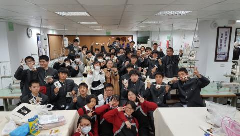 日本山口縣鴻城高等學校蒞臨莊敬流行服飾科體驗技職交流